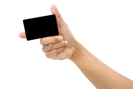 Card in format of credit card in male hand isolated, clipping path Stock Photo - 25800281