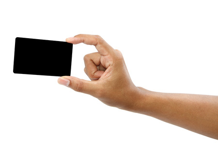 unprinted: Card in format of credit card in male hand isolated, clipping path