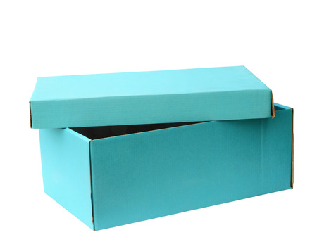 Sky blue recycle paper box on white background, clipping path photo