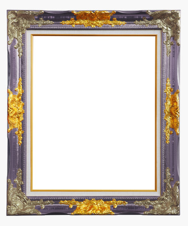 Copper purple louise photo frame over white background , clipping path  photo