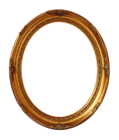 Gold vintage oval photo wooden frame isolated with clipping path  Reklamní fotografie