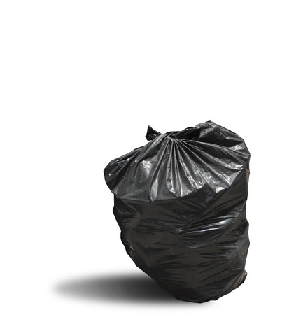 Close up of garbage bag on white background with clipping path
