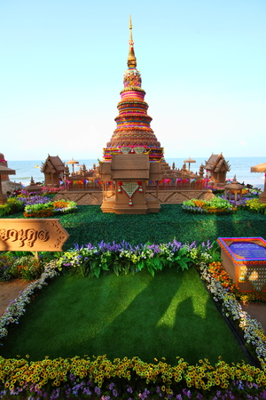 CHONBURI,THAILAND-A PRIL 17 2014  The traditional hand made sand pagoda on Bangsaen beach at Songkran Festival is a tradition of Chonburi, Thailand