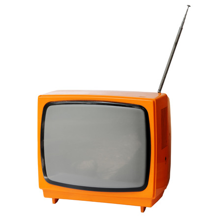 Vintage analog television isolated over white background, clipping path  Фото со стока