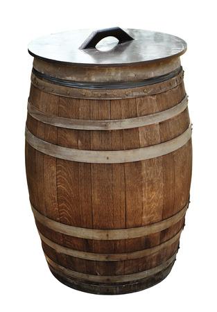 beerhouse: Old wood barrel isolated on white background