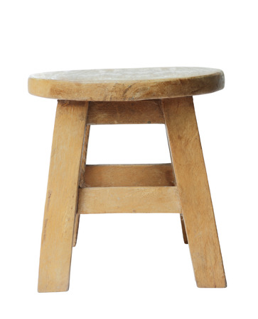 Wooden stool isolated by hand made isolated on white background photo