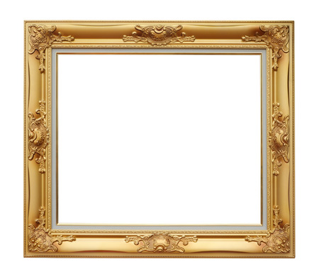 Antique of gold photo frame over white background, clipping path  photo