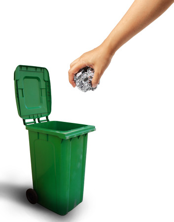 dispose: Hand throwing paper recycle into the trash, ecology concept