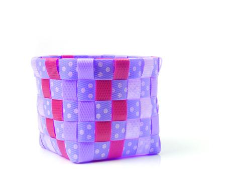 Hand craft plastic basket isolated on white background  photo