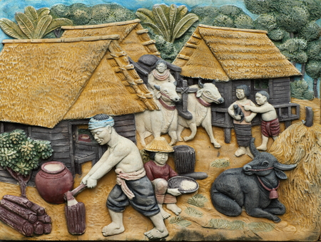 low relief: Low relief cement Thai style handcraft of Thai tradition on wall, artwork for d�cor