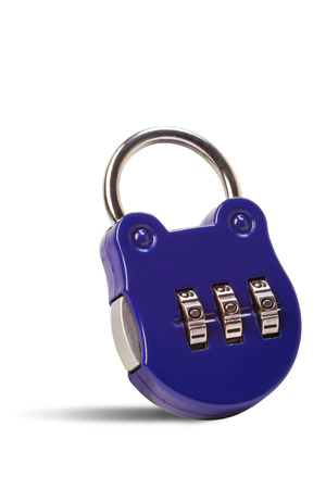 Padlock with combination code isolated on white background, clipping path  photo