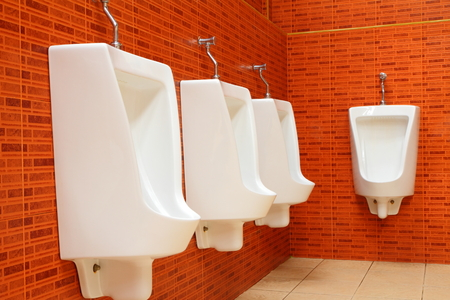 gents: White porcelain urinals in gents toilets