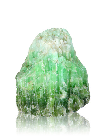 Nature mineral of jade stone on white background, clipping path