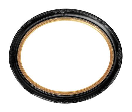 クリッピング パスで分離された黒のビンテージ オーバル写真の木製フレーム。