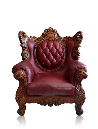 arm chairs: Old styled brown vintage armchair isolated on white background, clipping path. Stock Photo