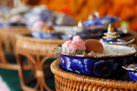 merit: Food and cooked rice and desserts in ceramic bowl, The merit of Buddhist ceremony.