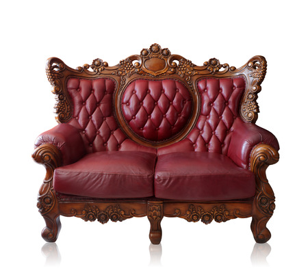 antique furniture: Old styled brown vintage armchair isolated on white background, clipping path. Stock Photo