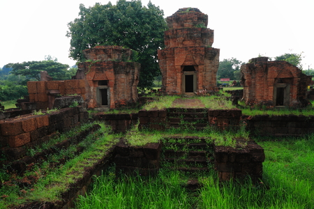 16th century Nong Hong laterite castle in Buriram province at Thailand, Religious buildings constructed by the ancient Khmer art. photo