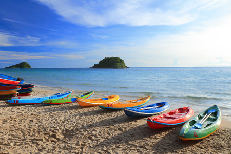 Colorful boats on the tropical beach, at koh lan island Pattaya city Chonburi Thailand Stock Photo