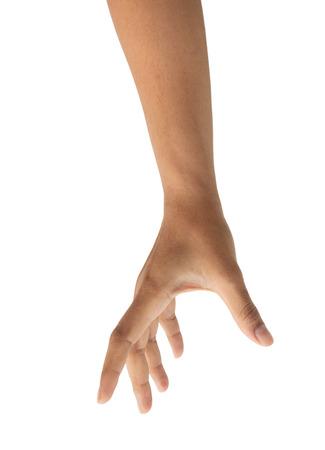 空間で何かを選ぶ女性の手は、白い背景に、クリッピング パスを隔離しました。