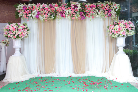 Colorful Backdrop Flowers With White And Gold Fabric Arrangement ...