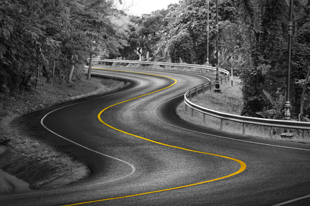 yellow line: Black and white curve way of asphalt road in nature with yellow line.