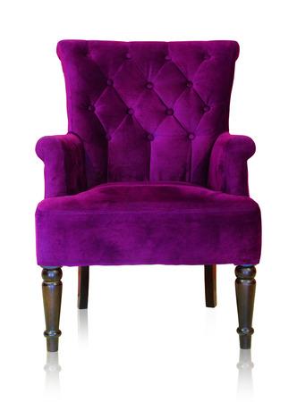 古いスタイルの白い背景、クリッピング パスの分離された紫ヴィンテージ アームチェア。 写真素材