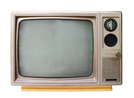 Vintage analog television isolated over white background