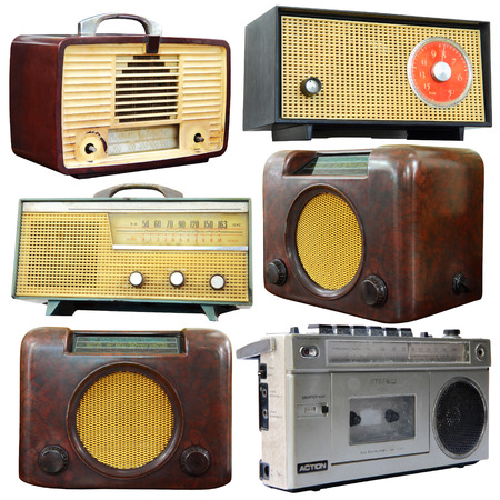 vintage radio: Set of old radio isolated over white background, clipping path. Stock Photo