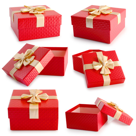golden years series: Set of red empty gift box and gold ribbon isolated on white background, clipping path.