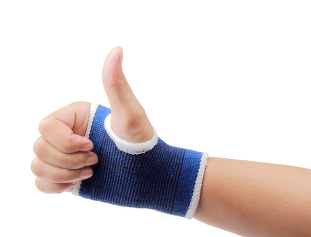 elbow brace: Right hand wrapped in bandage palm support isolated on white background, clipping path.