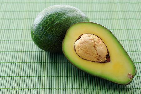 matt: Fresh of avocado on green bamboo matt background.