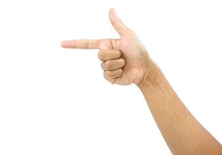 Male hand pointing finger isolated on white background