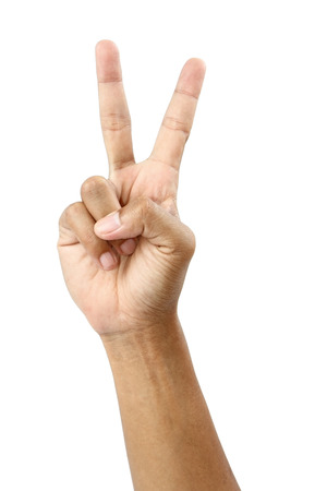 Male hand and fingers showing number two isolated on white background