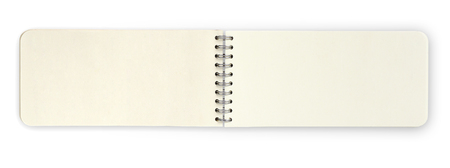 Open paper note book isolated over white background, clipping path.