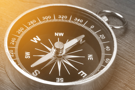 Old vintage retro compass, Instrument that indicates magnetic north.