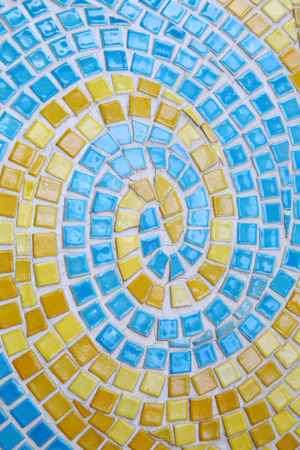 Yellow and blue mosaic arts backgrounds Stock Photo