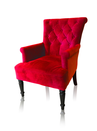 Old styled of red vintage armchair isolated on white background, clipping path.