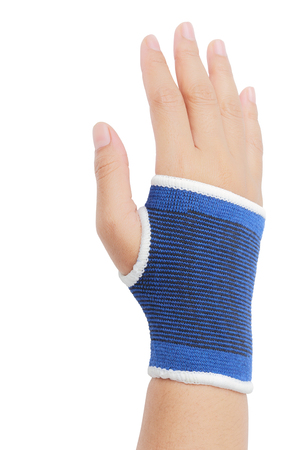 elbow band: Close up of right female hand with blue wrist isolated on white background, clipping path. Stock Photo