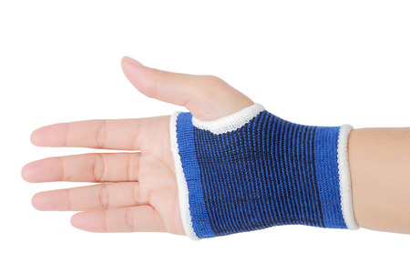 Close up of right female hand with blue wrist isolated on white background, clipping path. Stock Photo