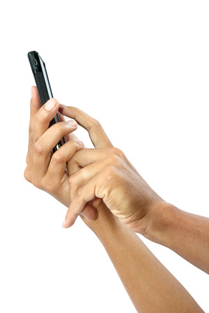 Male hands holding and touching on mobile smartphone with blank screen isolated on white background, clipping path.