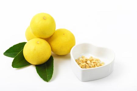Fresh of lripe emon and leaf isolated on white background, Lemon juice against cancer.