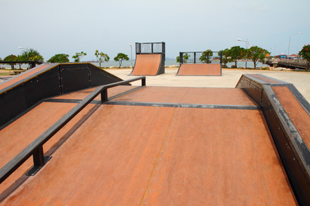 nice skate and other sports park on puplic xtreme park