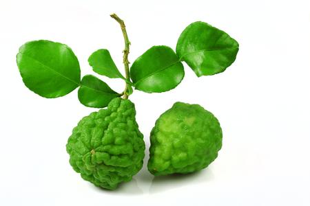 Fresh bergamot fruit with leaf isolated on white background Stock Photo