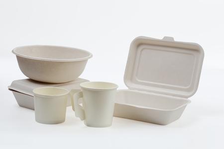 無漂白植物繊維食品箱・紙コーヒーのセットはカップのクリッピング パス、天然繊維のエコ食品の分離白と包装を飲みます。