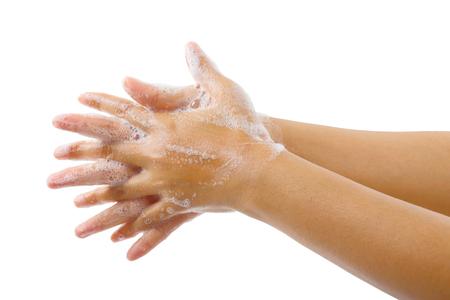 Schließen Sie herauf das Bild des Händewaschens des medizinischen Verfahrensschrittes, der auf weißem Hintergrund, globaler handwashing Tag lokalisiert wird.