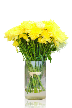 Bright of yellow chrysanthemum flowers in vase isolated on white background, clipping path.