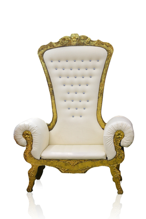 Vintage luxury white and golden armchair isolated on white background, clipping path. Stock Photo