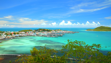 Panorama view of blue seascape at Samaesan village Chonburi, Gulf of Thailand.
