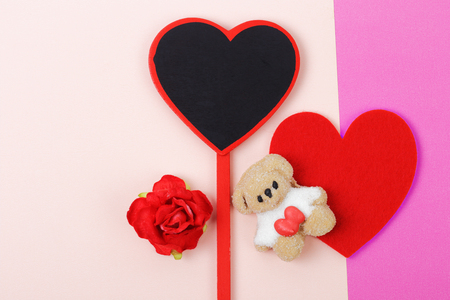 Sweet of marshmallow with red heart on pink paper background, Valentines day concept.